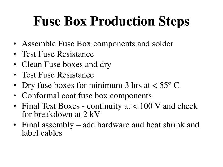 Fuse box production steps