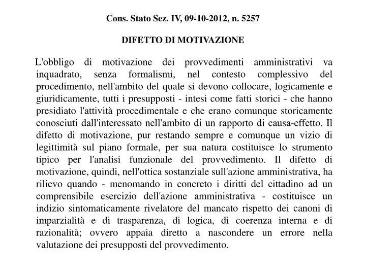 Cons. Stato Sez. IV, 09-10-2012, n. 5257