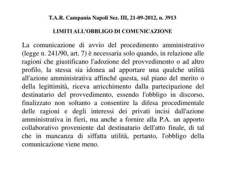 T.A.R. Campania Napoli Sez. III, 21-09-2012, n. 3913