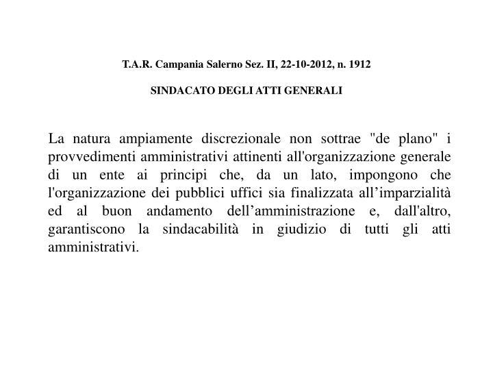 T.A.R. Campania Salerno Sez. II, 22-10-2012, n. 1912