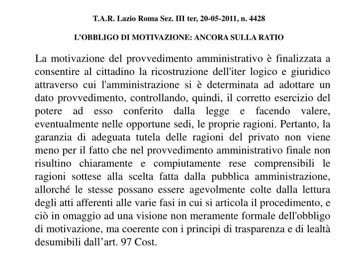 T.A.R. Lazio Roma Sez. III