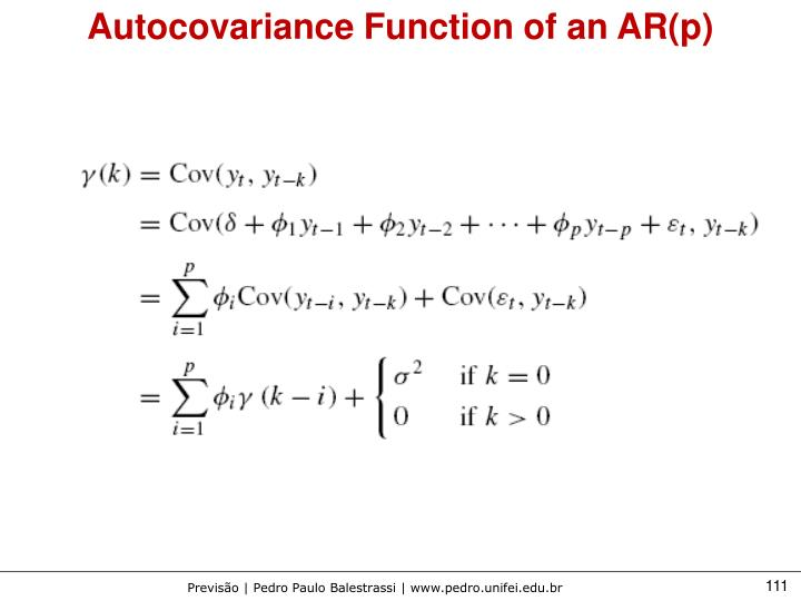 Autocovariance Function of an AR(p)