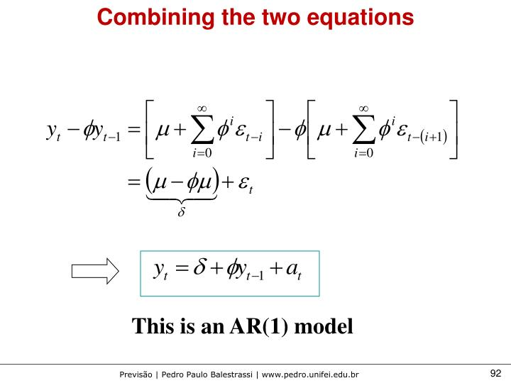 Combining the two equations