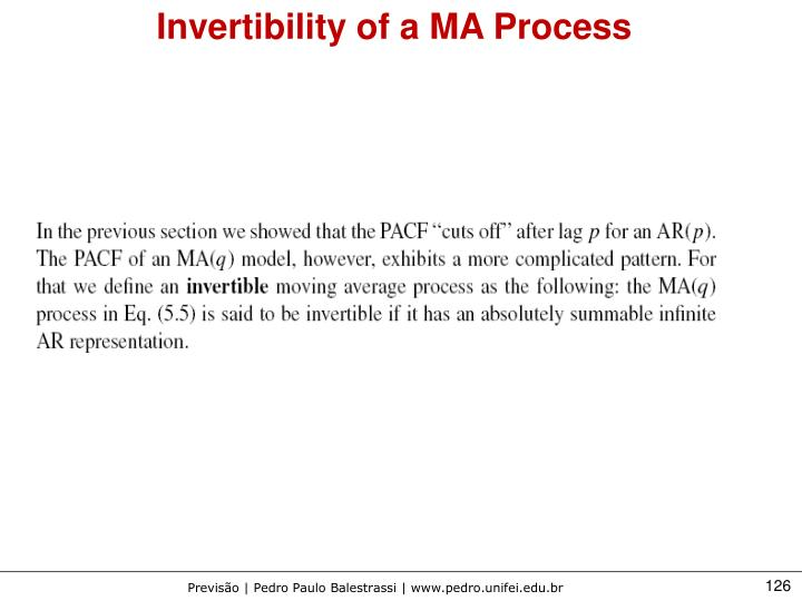 Invertibility of a MA Process