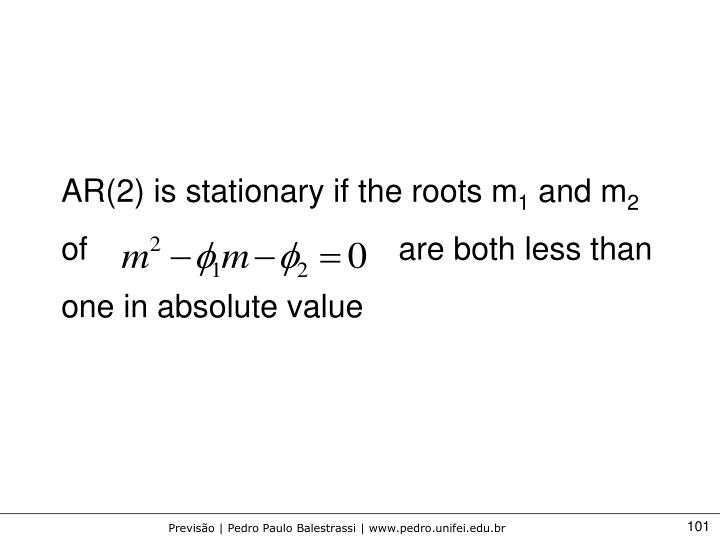 AR(2) is stationary if the roots m