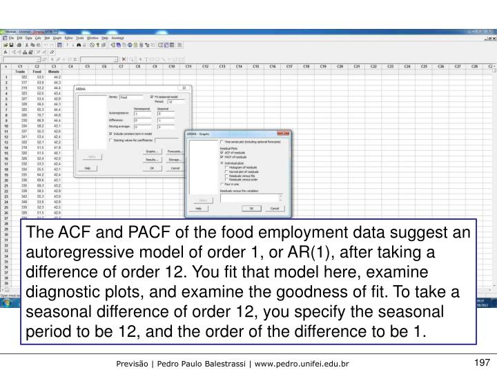 The ACF and PACF of the food employment data suggest an autoregressive model of order 1, or AR(1), after taking a difference of order 12. You fit that model here, examine diagnostic plots, and examine the goodness of fit. To take a seasonal difference of order 12, you specify the seasonal period to be 12, and the order of the difference to be 1.