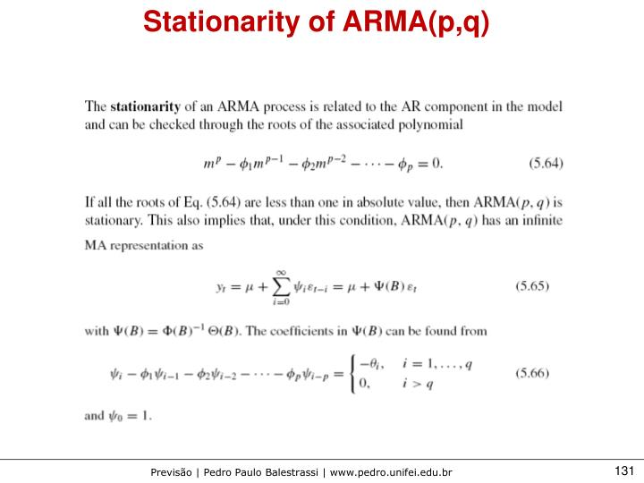 Stationarity of ARMA(p,q)
