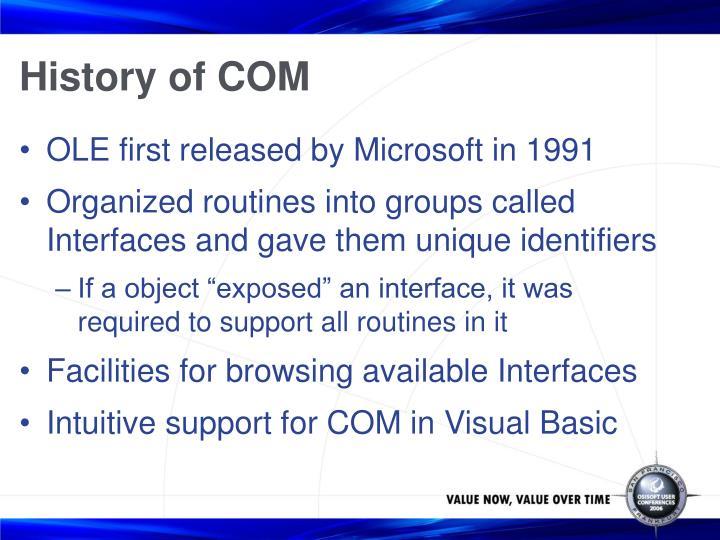 History of COM