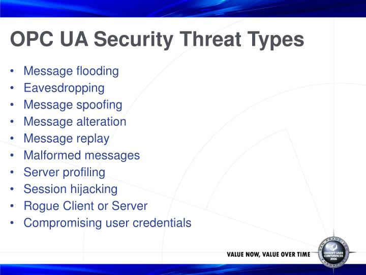 OPC UA Security Threat Types