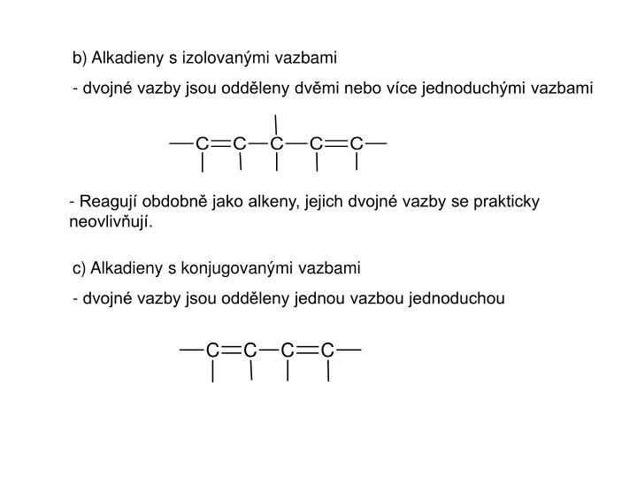 b) Alkadieny s izolovanými vazbami