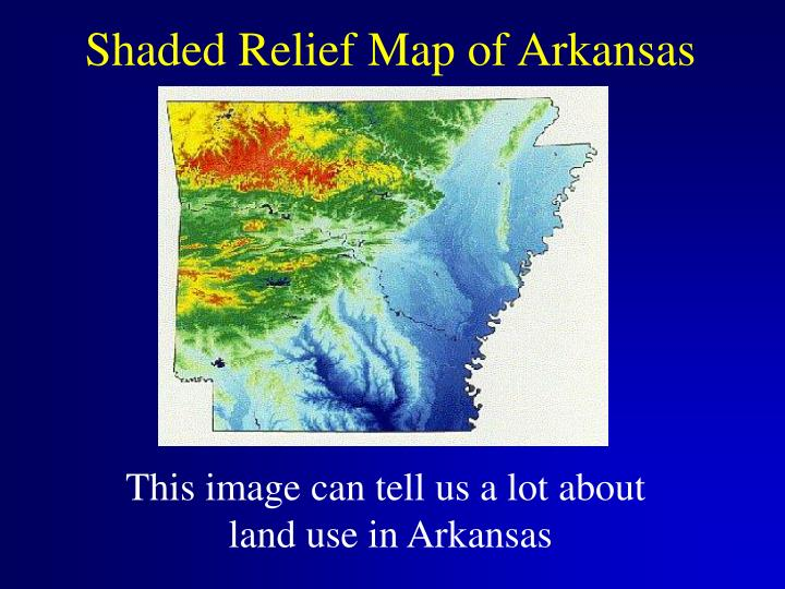 Shaded Relief Map of Arkansas