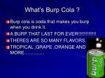 what s burp cola