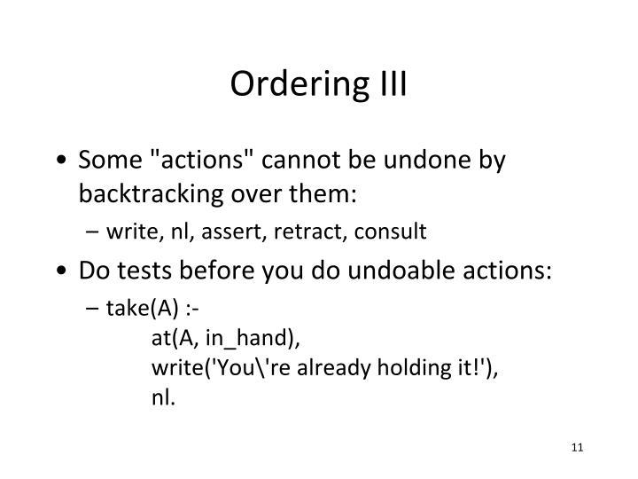 Ordering III