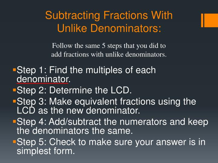 Subtracting Fractions With