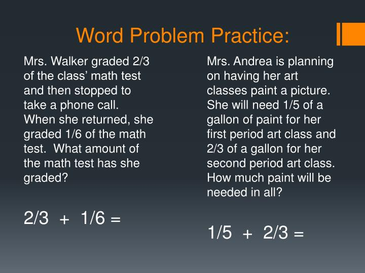 Word Problem Practice: