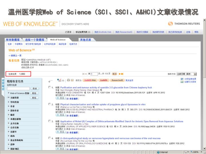Web of science sci ssci a hci