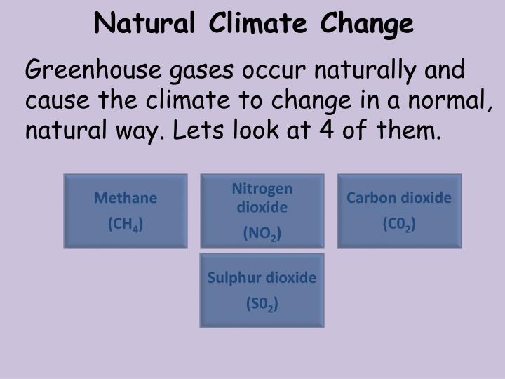 Greenhouse gases occur naturally and cause the climate to change in a normal, natural way. Lets look at 4 of them.