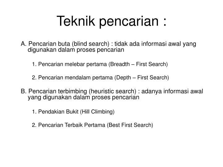 Teknik pencarian :