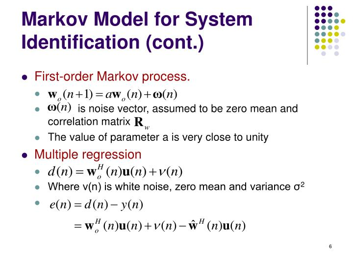 Markov Model for System Identification (cont.)