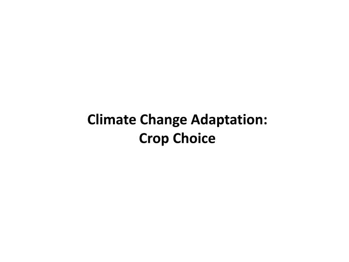 Climate Change Adaptation: Crop Choice
