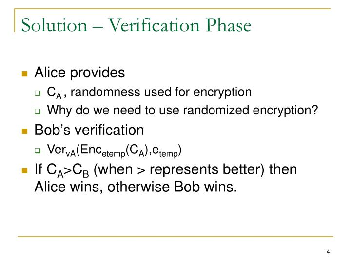 Solution – Verification Phase