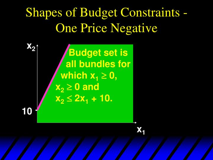 Shapes of Budget Constraints - One Price Negative