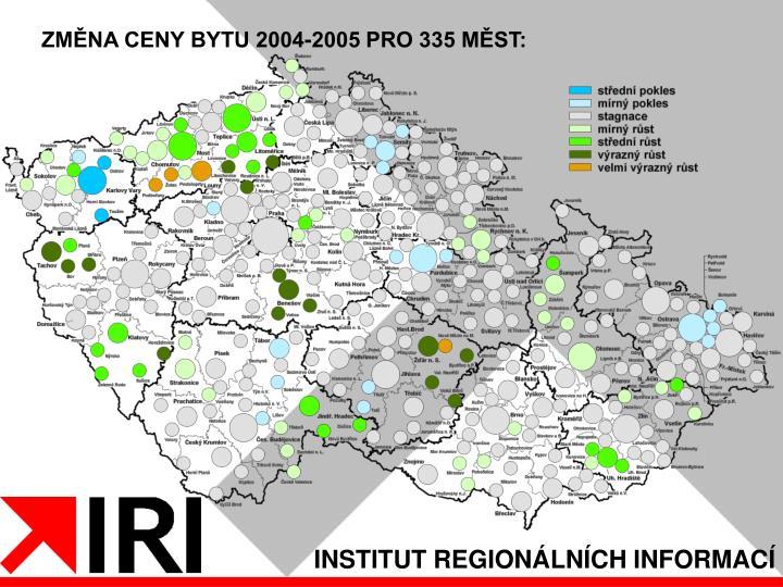 ZMĚNA CENY BYTU 2004-2005 PRO 335 MĚST: