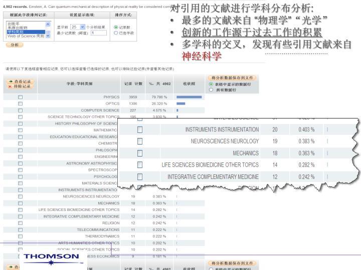 对引用的文献进行学科分布分析