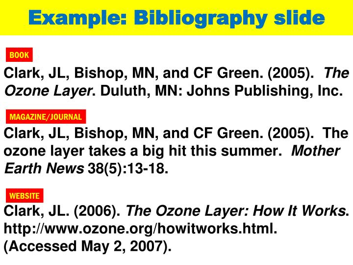 Example: Bibliography slide