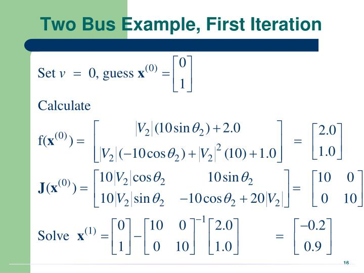 Two Bus Example, First Iteration
