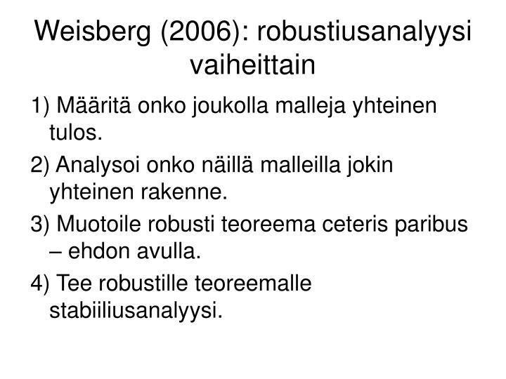 Weisberg (2006): robustiusanalyysi vaiheittain