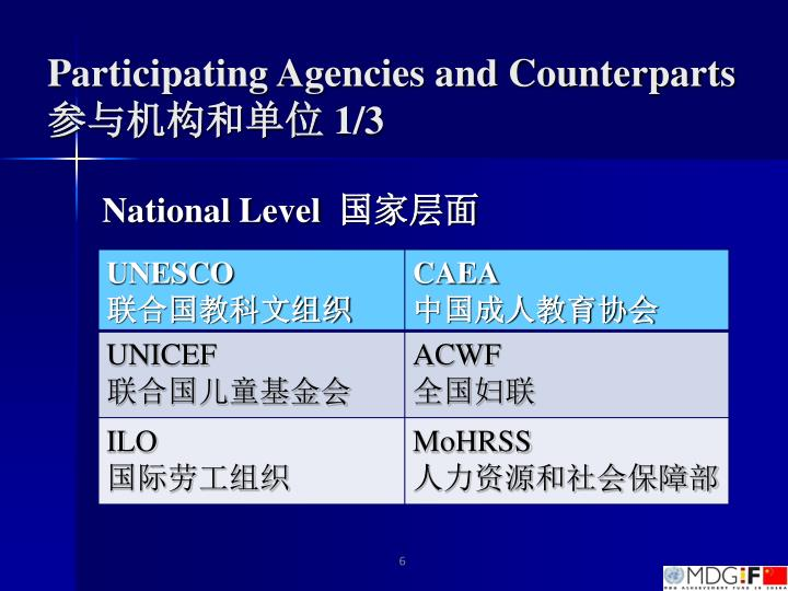 Participating Agencies and Counterparts