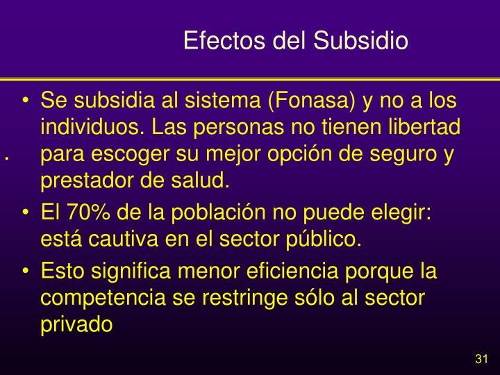 Efectos del Subsidio