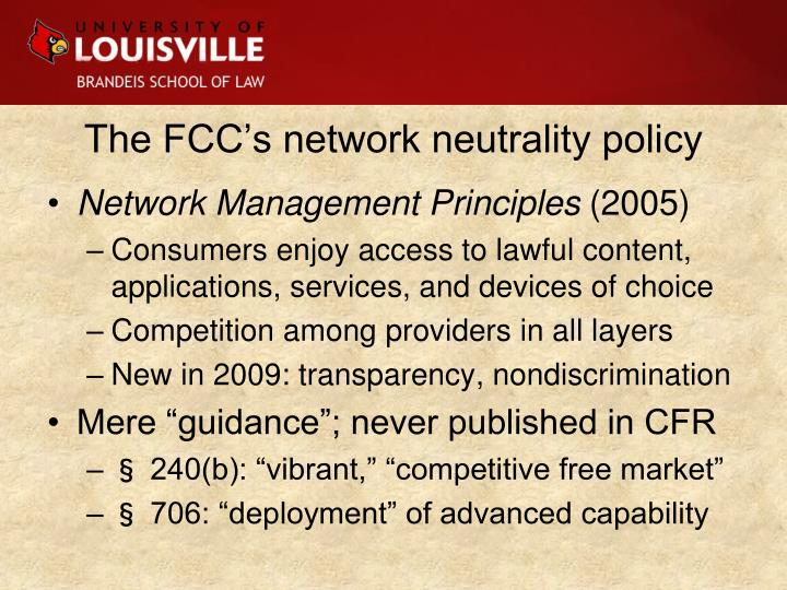 The FCC's network neutrality policy