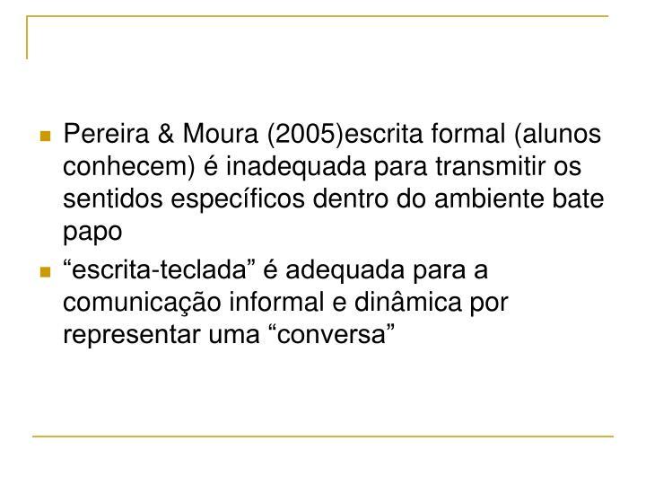 Pereira & Moura (2005)escrita formal (alunos conhecem) é inadequada para transmitir os sentidos específicos dentro do ambiente bate papo