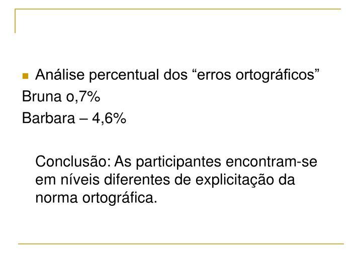 """Análise percentual dos """"erros ortográficos"""""""