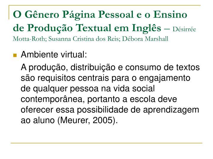 O Gênero Página Pessoal e o Ensino de Produção Textual em Inglês
