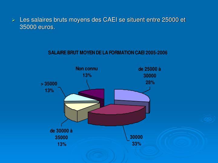 Les salaires bruts moyens des CAEI se situent entre 25000 et 35000 euros.