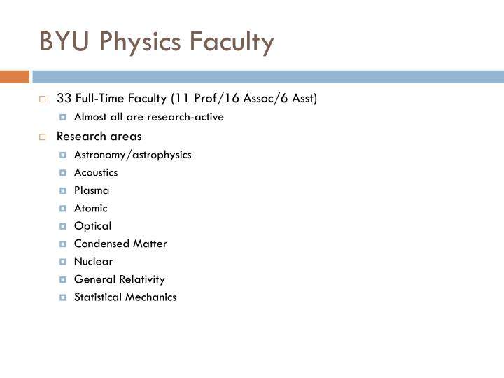 BYU Physics Faculty