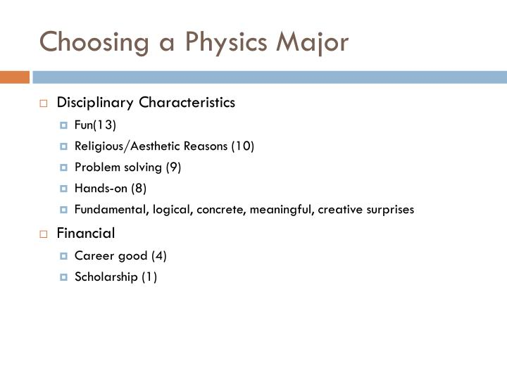 Choosing a Physics Major