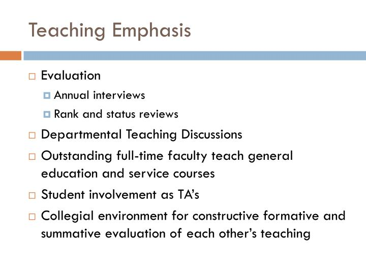 Teaching Emphasis