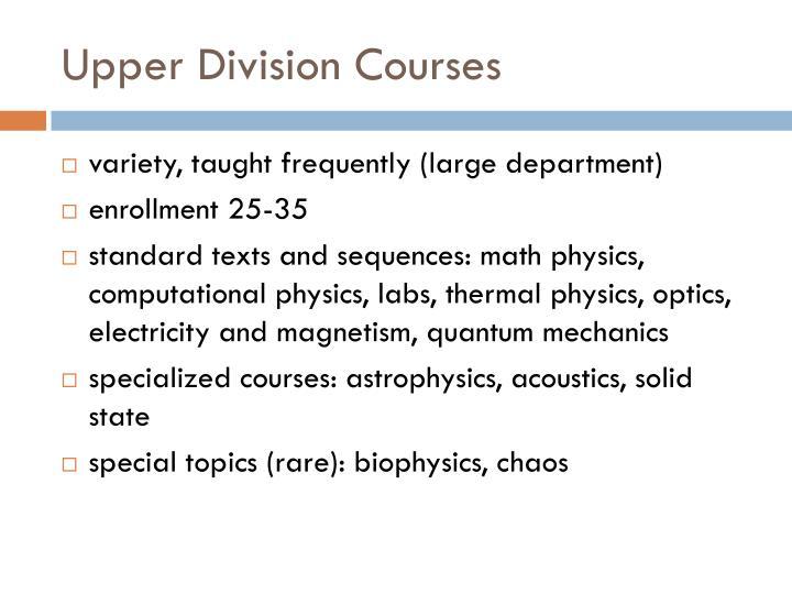 Upper Division Courses