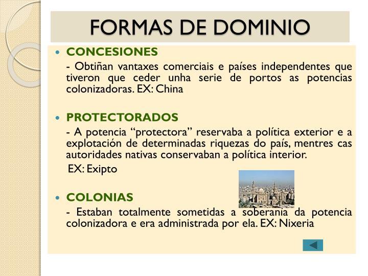 FORMAS DE DOMINIO
