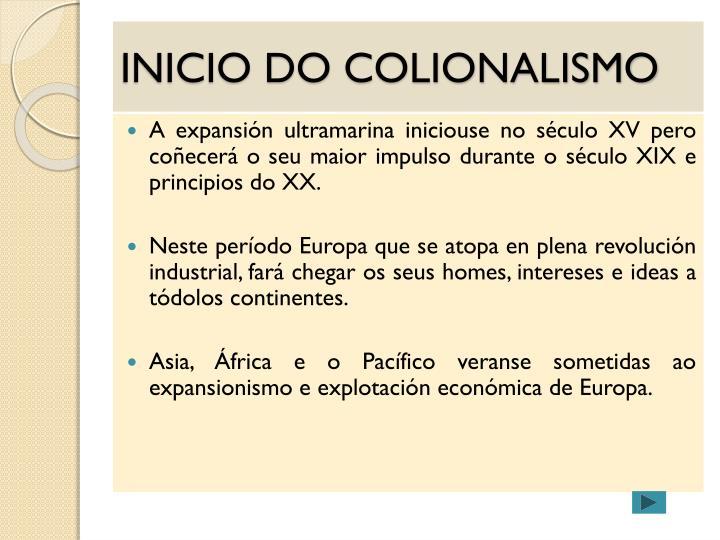 INICIO DO COLIONALISMO