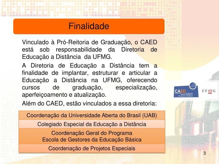 Vinculado à Pró-Reitoria de Graduação, o CAED está sob responsabilidade da Diretoria de Educação a Distância  da UFMG.
