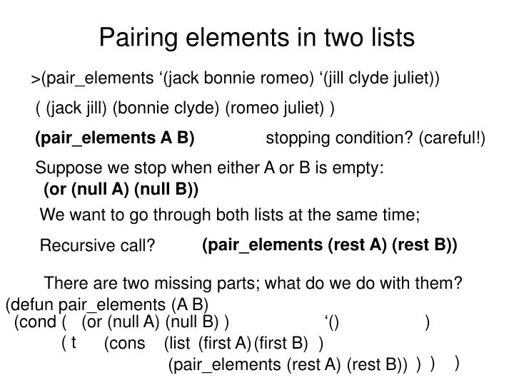 Pairing elements in two lists