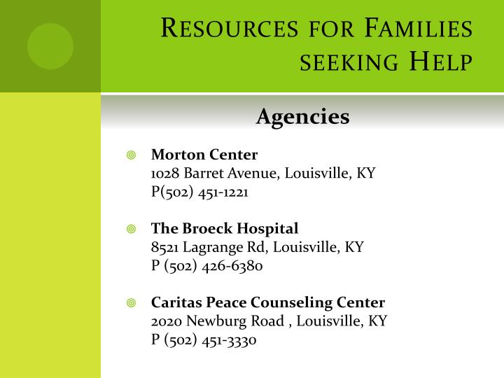 Resources for Families seeking Help