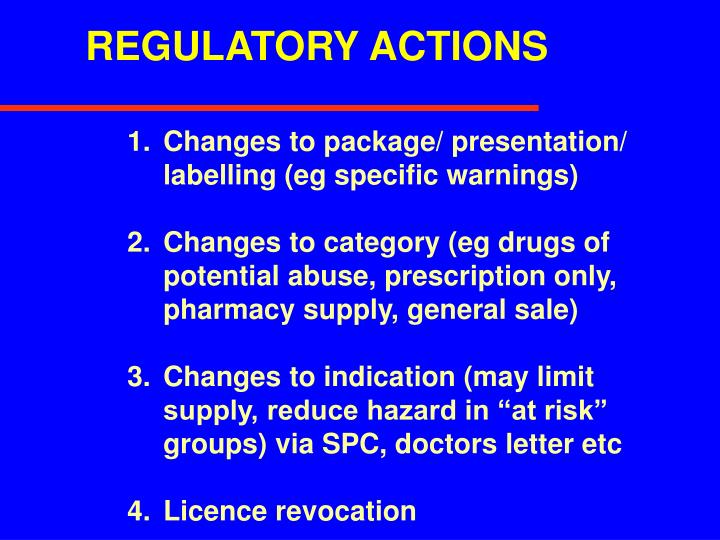 REGULATORY ACTIONS