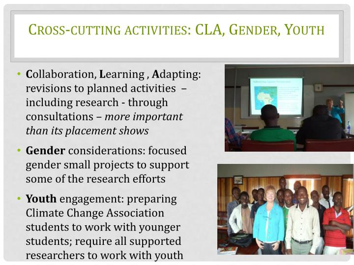 Cross-cutting activities: CLA, Gender, Youth
