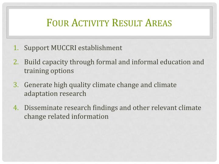 Four Activity Result Areas